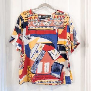 Vintage Abstract Artist Short Sleeve Blouse Size 6